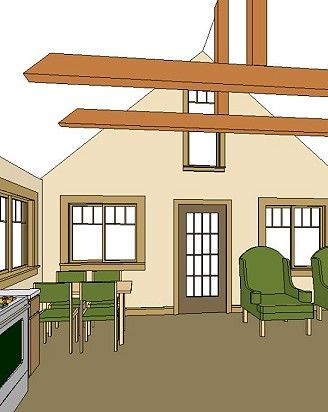 20 X 30 Cottage Interior With Beam Ceiling House Plans 20x30 House Plans Bungalow Interiors