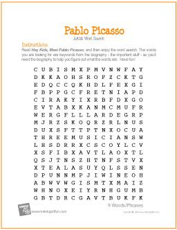 Pablo Picasso Free Word Search Worksheet Makingartfun Com Htm F Maf Printit Picasso Word Search Worksheet Htm