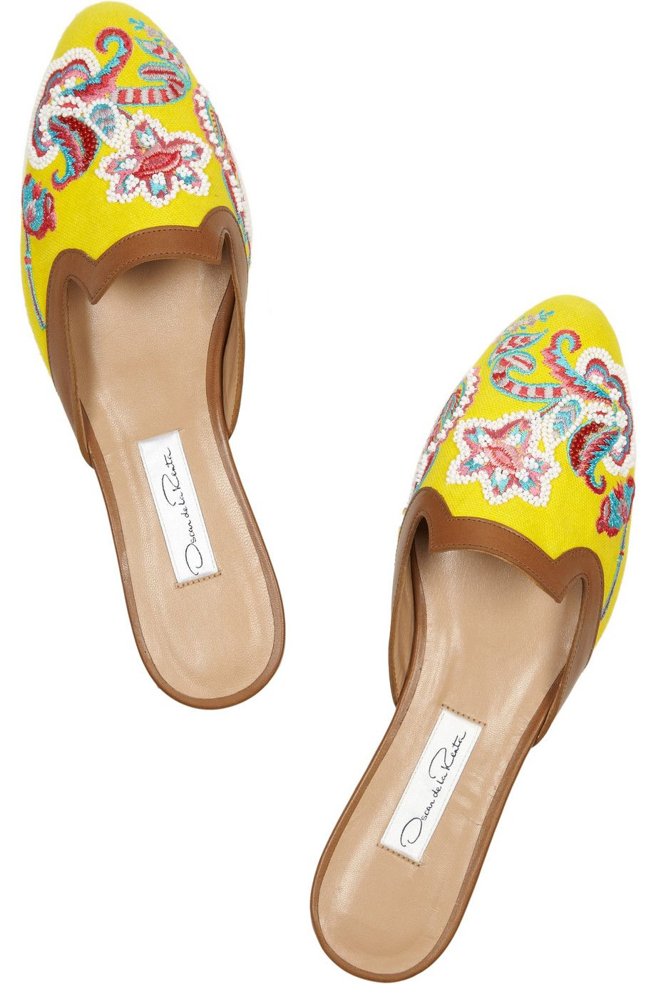 Oscar de la Renta | Embellished canvas and leather slippers