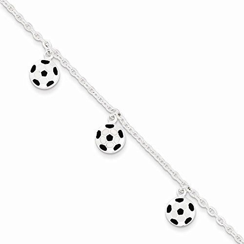 Sterling Silver Enameled Soccer Ball Bracelet, Best