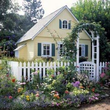 Theme Barns And Fences Cottage Garden With White Picket