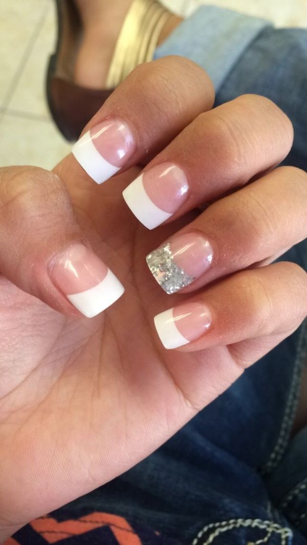 French tipped acrylic nails with a silver sparkly touch! The silver ...