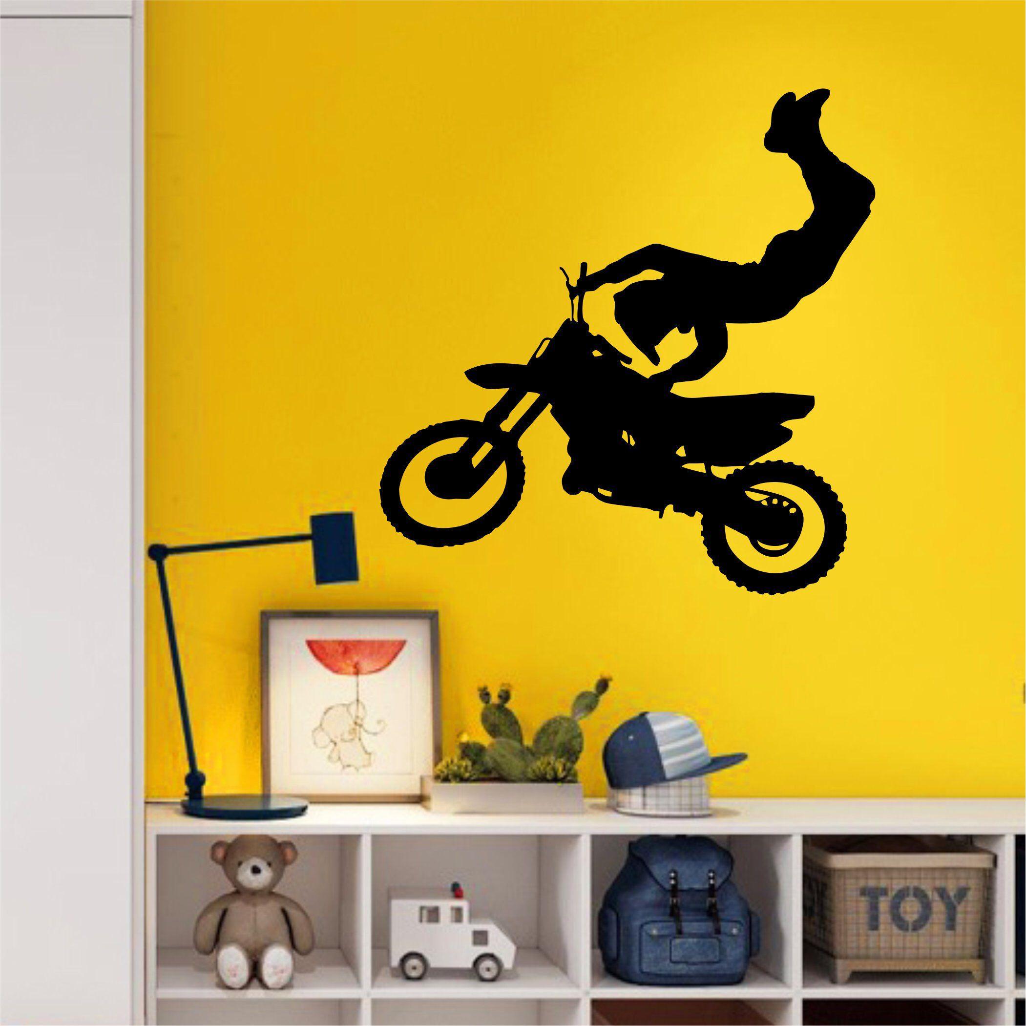 Motocross Wall Decal - Large Wall Art - Kids Room Art - Boys Bedroom ...