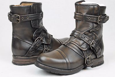 Ugg collection elisabeta moto buckle leather boots espresso womens size 6 us