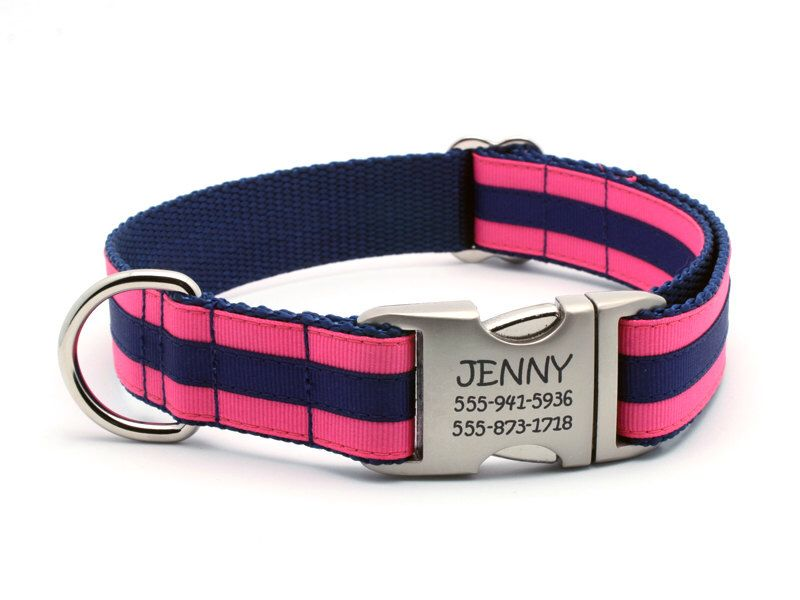 Layered Stripe Laser Engraved Personalized Dog Collar - Hot Pink/Navy by LaserPets on Etsy https://www.etsy.com/listing/106994713/layered-stripe-laser-engraved