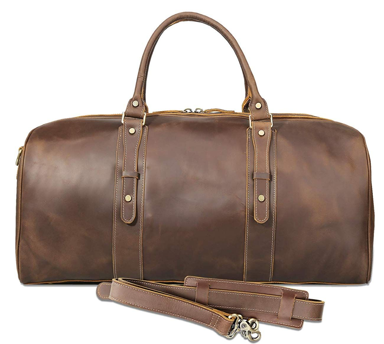 Texbo Mens Full Grain Cowhide Leather Large Overnight Travel Duffle Bag Luggage 23