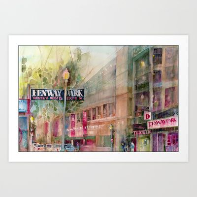 World Series 2013 Fenway Park - Red Sox  Art Print by Dorrie Rifkin Watercolors - $19.00