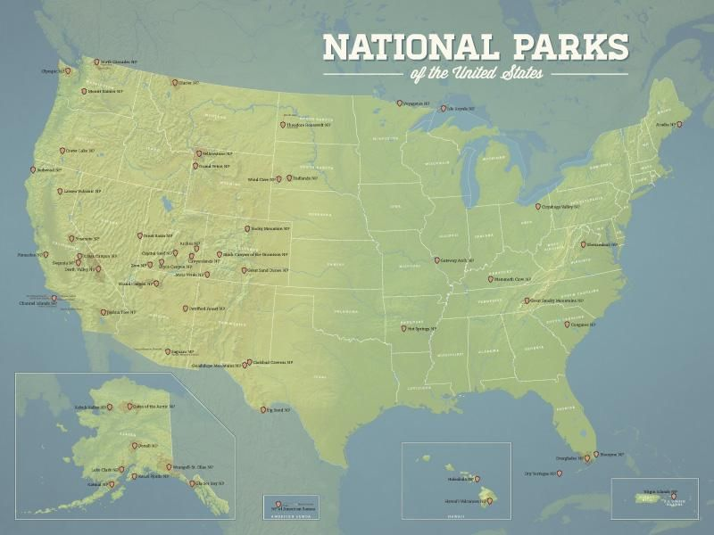 US National Parks Map 18x24 Poster | travel | Us national ...