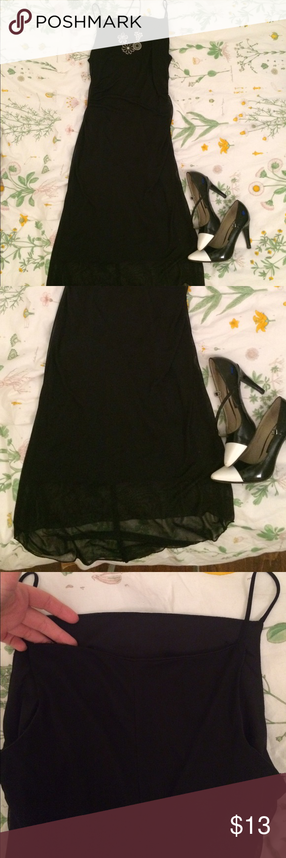 Sexy Black Dress That perfect little black dress. Romantic sheer dress with lining. It comes up to right about the collar bone in the front and the back is just slightly lower. High low train. (Accessories not for sale) Comes from smoke free/pet free home :) Dresses