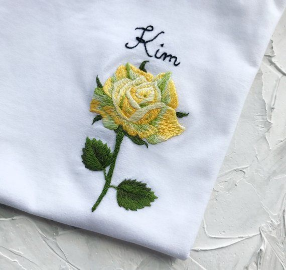 Rose hand embroidered t-shirt, Unusual Floral embroidery shirt