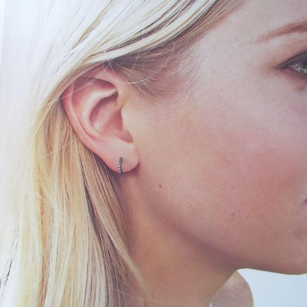 Black Xsmall Dainty Cz Micro Pave Huggie Hoop Earrings Extra Small Hoops  Cartilage Hoops Tiny Hoop Earrings Cz Diamond Huggies