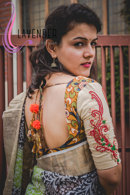 Modern Style Work Wear Saree Blouse Kalamkari Print Cotton Blouse