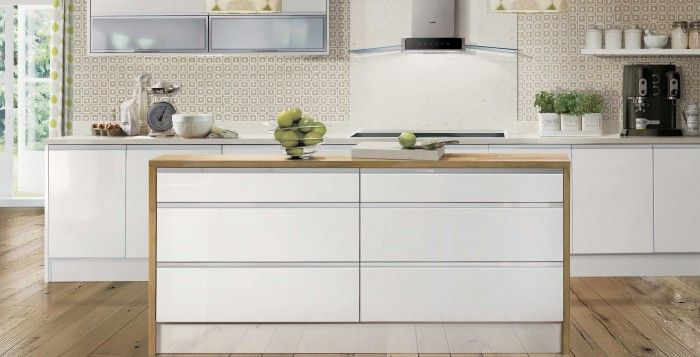 Choose handle-less gloss cupboard fronts for a modern and sleek look ...