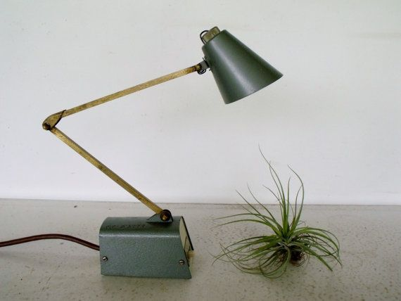 Desk Light Industrial Dazor Green Metal Task Shop Lamp by KTsAttic, $38.00