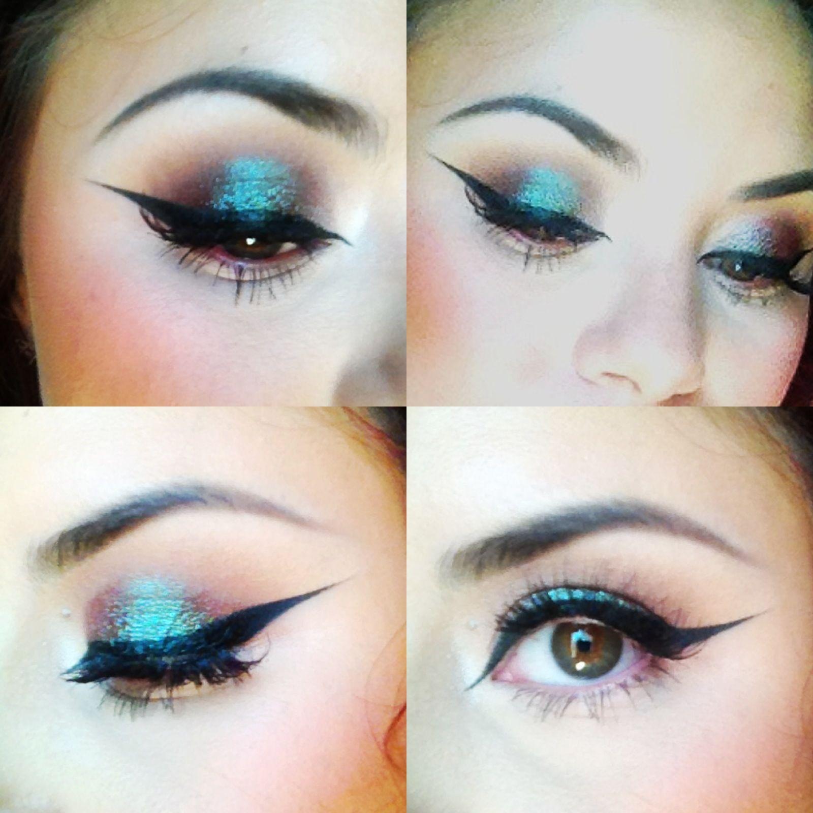 Blue/brown smokey eye + cat eyeliner Smokey eye for