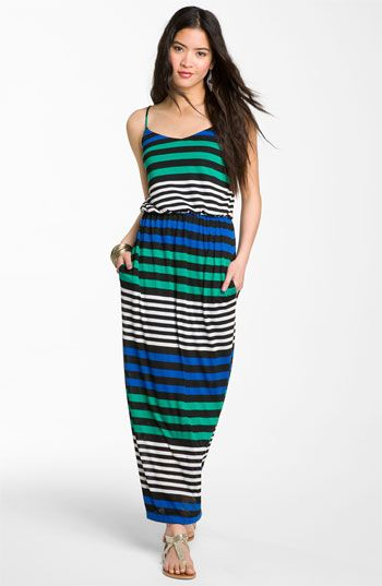 Velvet striped maxi dress