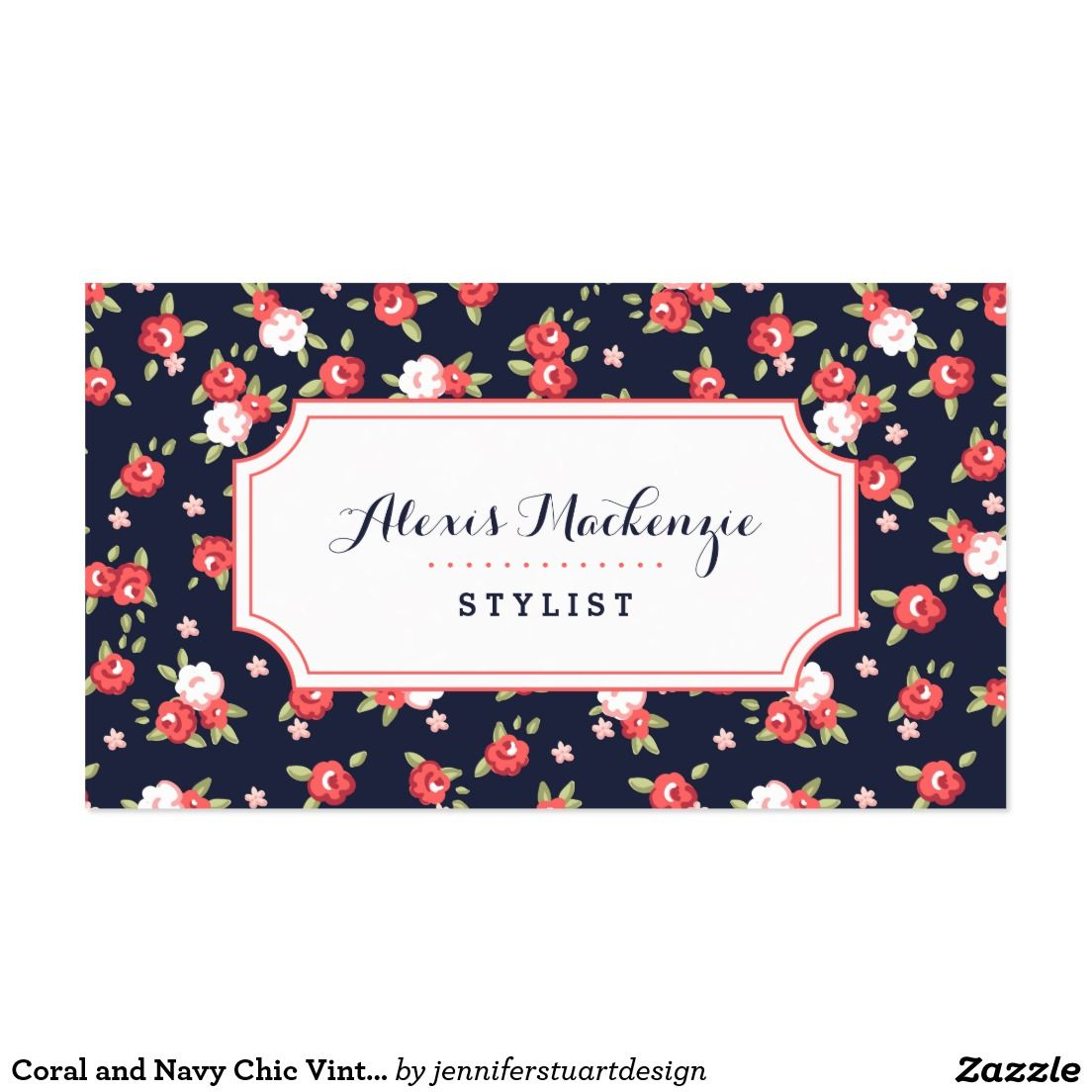 Coral And Navy Chic Vintage Floral Print Business Card Zazzle Co