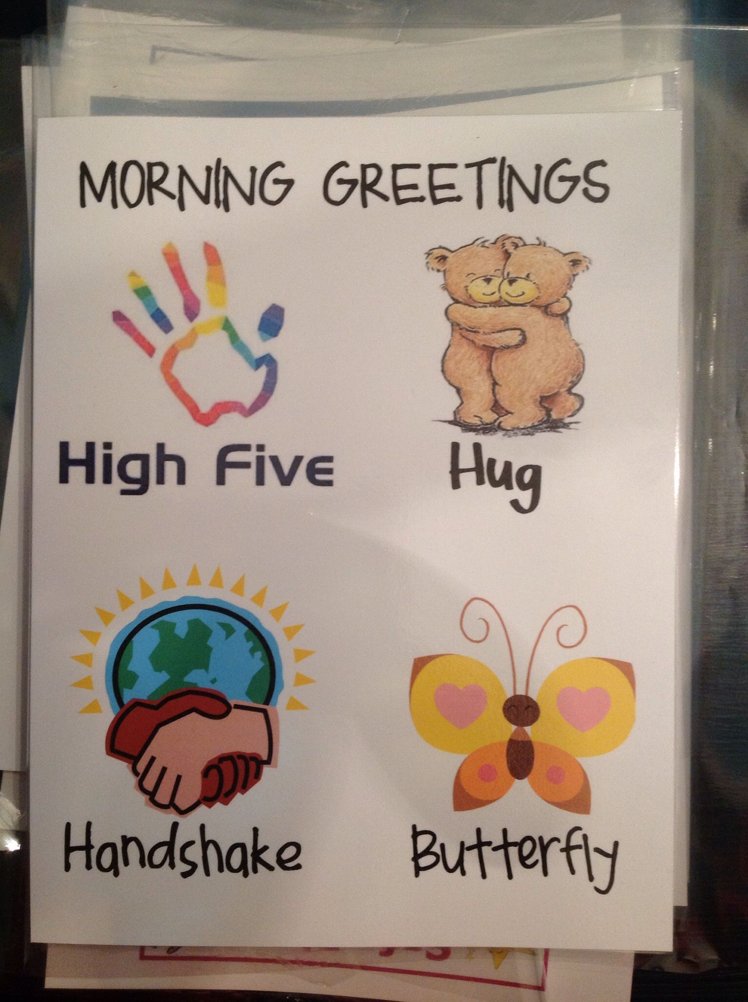 Classroom Greeting Ideas ~ Morning greetings have students choose one from the card