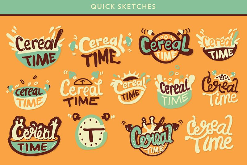 Quick Sketches Exploring Initial Concepts Art Direction And Typography Styles Keywords Alarm Clock Sun Cereal Bowl Cereal Logos Logo Design Craft Logo