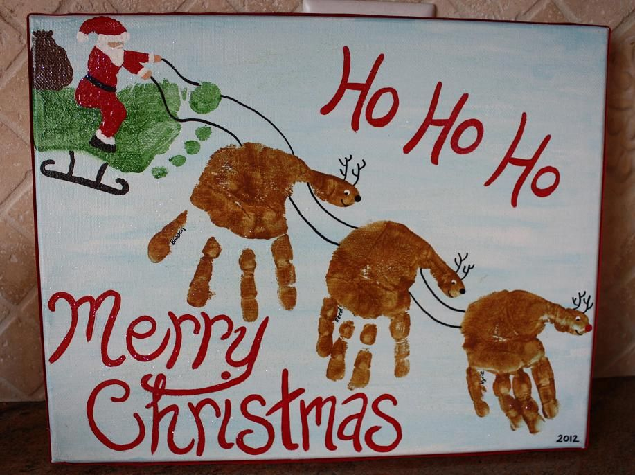 Handprint Canvas for Christmas-cute idea for babysitter project ...
