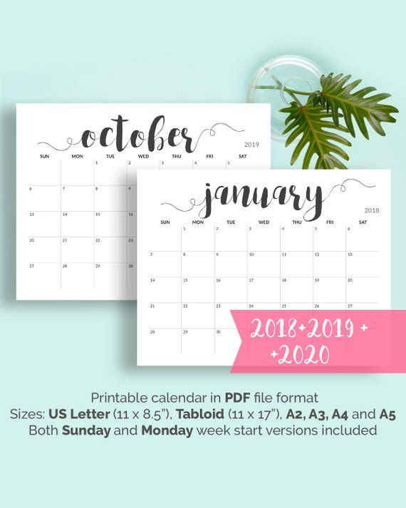2018 Printable Calendar 2018-2019 Calendar Printable Large Calendar