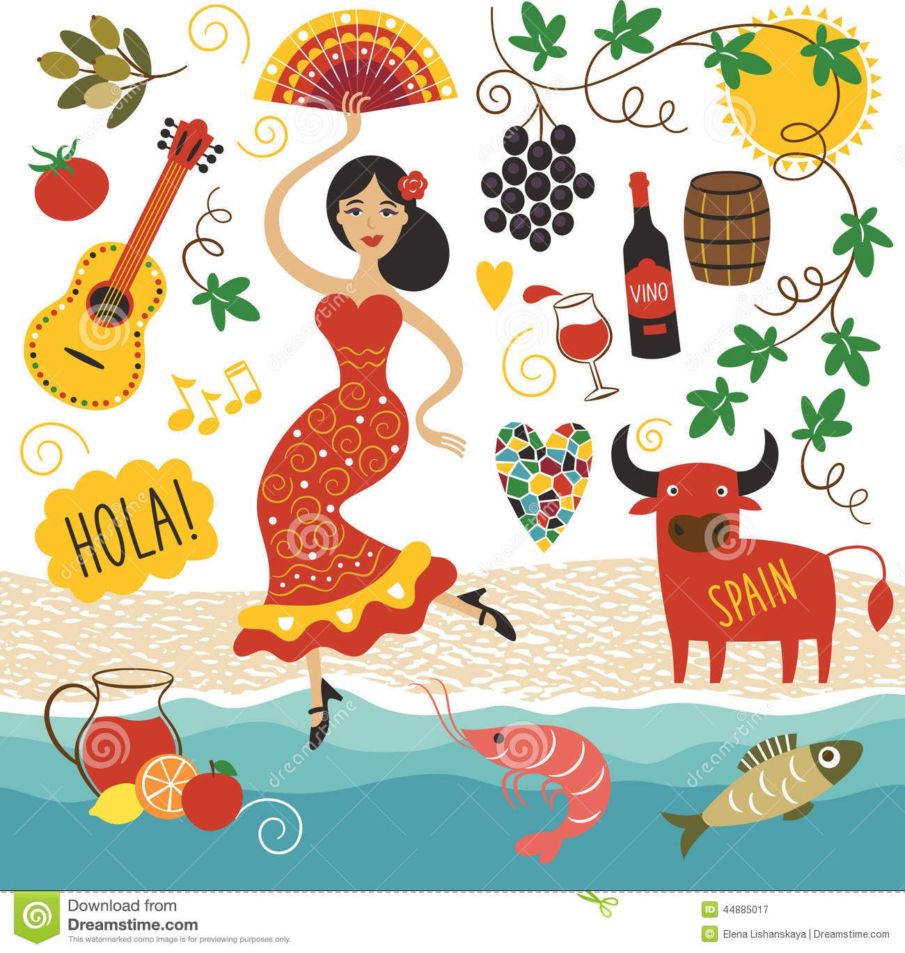 Topicos Spain Landmarks Symbols Set 44885017 Jpg 1 300 1 369 Pixels Cultura Espanhola Espanhol Ilustracoes