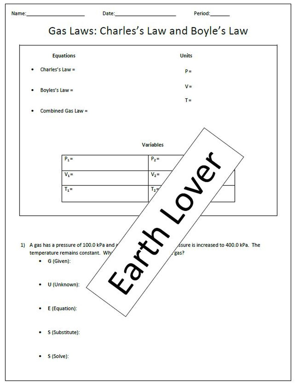 Gas Laws Practice Worksheet Practices Worksheets Chemistry Activities Charles Law
