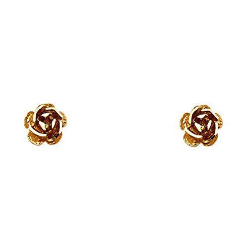 """Women's 14k Rose Gold Flower Small Tiny Baby Post Earrings (0.27"""" Diameter) - by…"""
