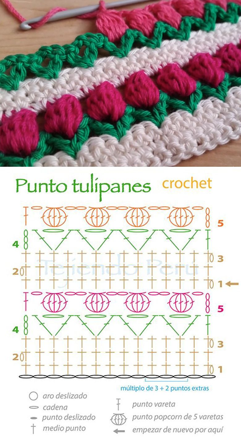 Tulip Stitch Crochet Pattern Tutorial Flowers Pinterest Diagram Patterns Free
