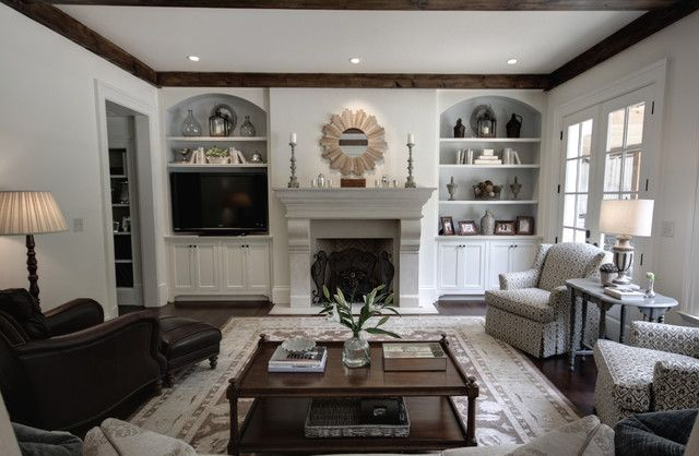 love the bookcases, open shelves around FP, I would have ...