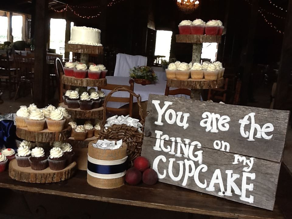 Rustic wedding cupcake display. | words that warm your heart ...