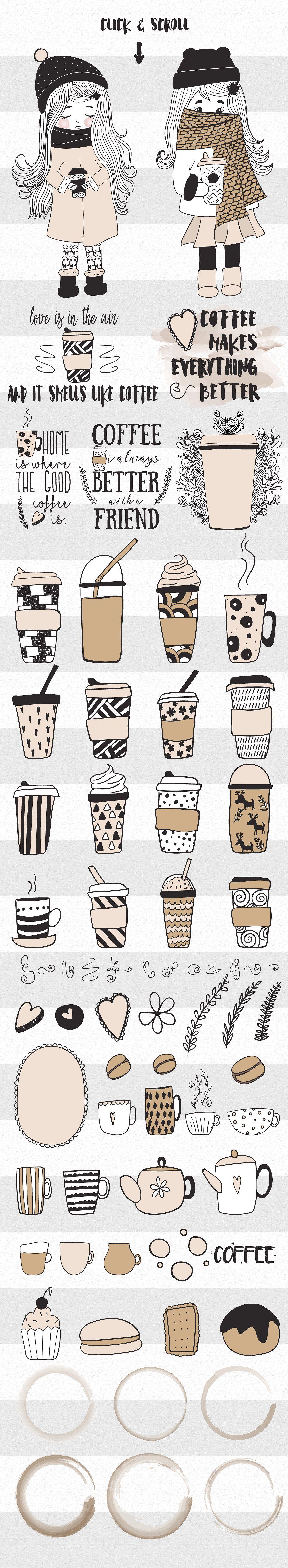 Coffee Doodle Set By Natdzho On Creativemarket Coffee Doodle Creative Market Doodles