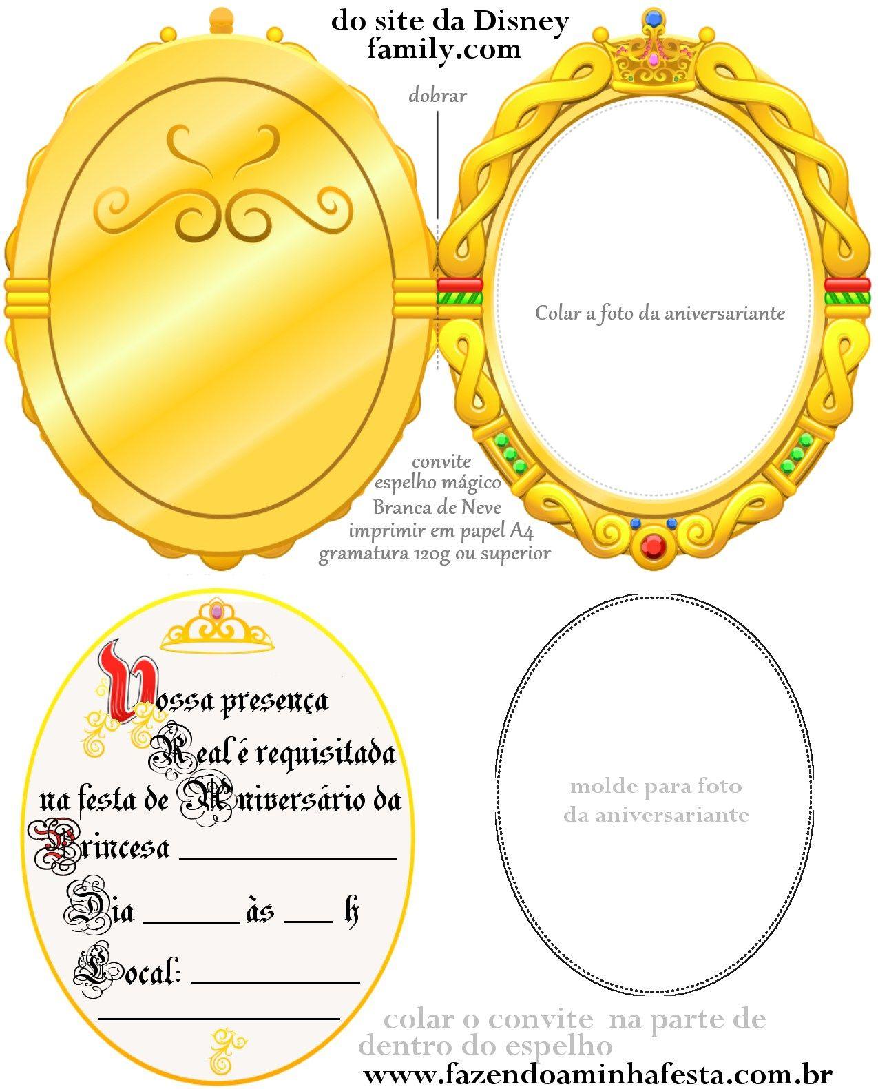 Convite Espelho Magico Branca De Neve Com Imagens Branca De