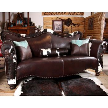 Cowboy Coffee Colored Western Leather Sofa...beautiful Rug As Well
