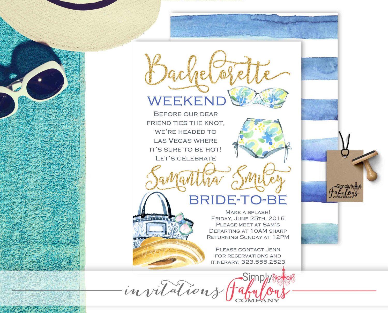 Gold and Watercolor Bikini Bachelorette Party Invitation ...