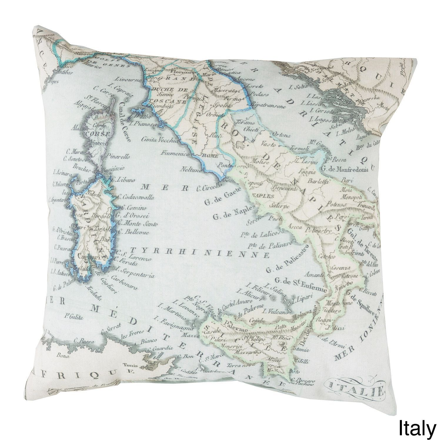 France Or Italy Map Indooroutdoor Decorative Throw Pillow (Italy