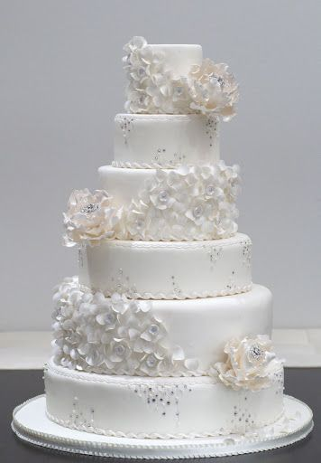 Ruelo Patisserie White Ruffles Swarovski And Diamond