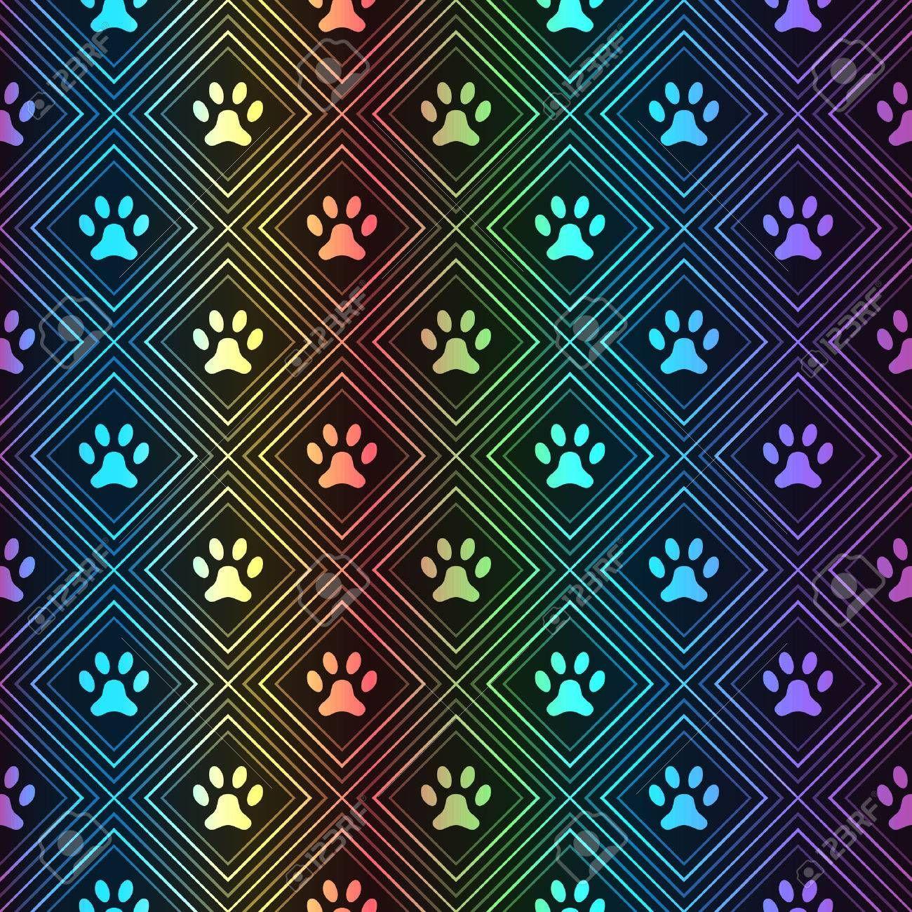 Stock Photo | Black background pattern, Paw print background