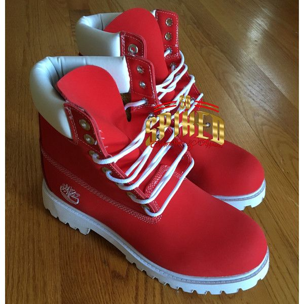 Custom Red and White Timberlands ($165) ❤ liked on Polyvore