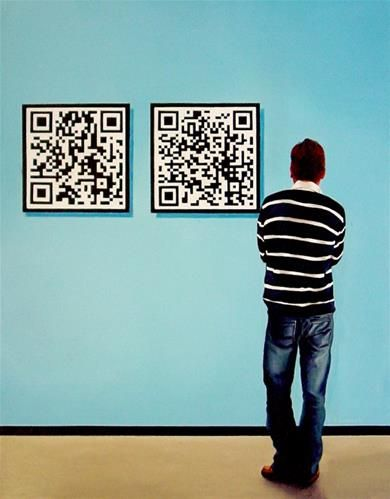 """Self Portrait With QR Codes"" by Gerard Boersma acrylic"