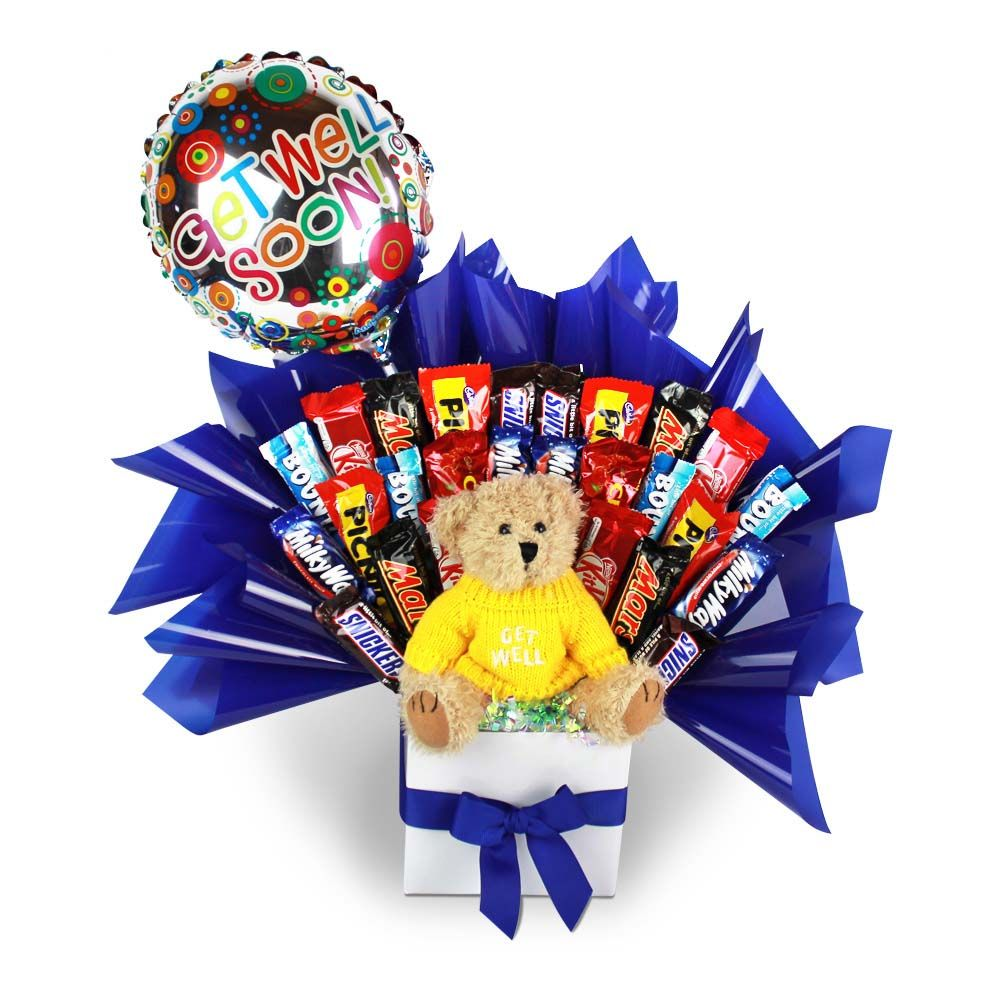 Get Well Bouquet and Balloon *Delicious Buds Chocolate