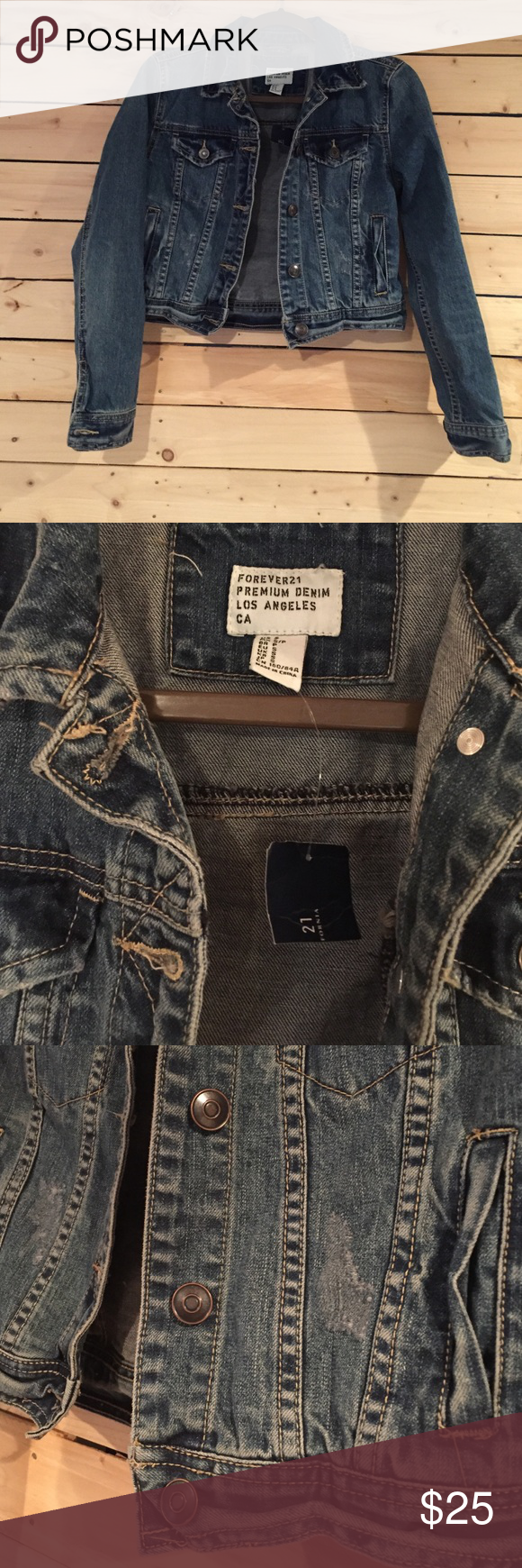 Cropped Denim jacket Not madewell just bloated for exposure. Forever 21 brand. Awesome little jacket!!! New with tag Madewell Jackets & Coats Jean Jackets