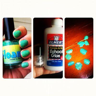 Dema Pixie: Using Elmer's Glue to remove glitter nail polish