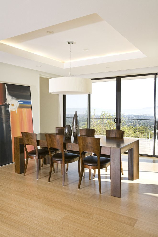 Narrow Dining Room Tables Hardwood Floors Sculptural Chairs White Pendants Double Glass Doors Decorations Contemporary Design Of Awesome Din