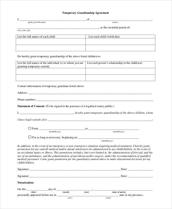 Temporary Guardianship Agreement Form Guardianship Custody Agreement Legal Guardianship