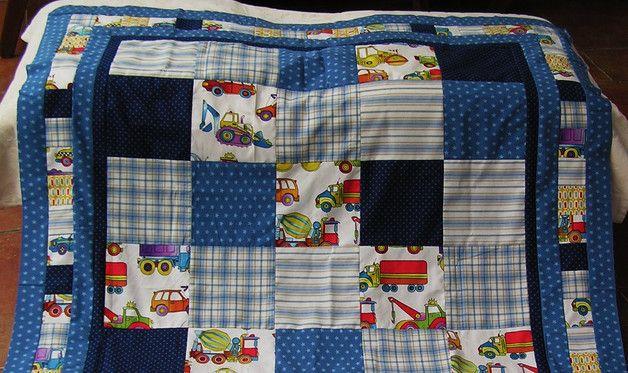 """Decken - Kinderdecke """"Boys at Work"""" Stoff von ... - ein Designerstück von meine-bunte-flickenecke bei DaWanda"""
