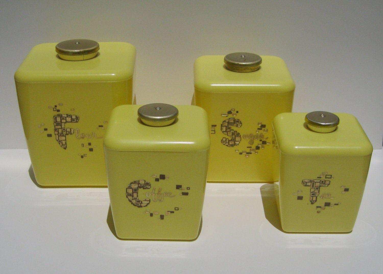 Vintage Kitchen Canister Set, Retro Yellow Kitchen ...