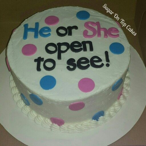 Gender reveal cake! Facebook.com/SugarOnTopCakes