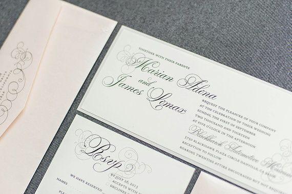 Blush Pink Wedding Invitation Silver Invite Formal Invitation
