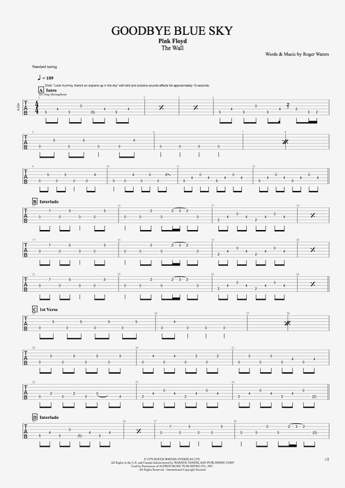 Goodbye Blue Sky By Pink Floyd Full Score Guitar Pro Tab